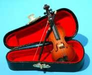 588944 Violine 10cm mit Bogen im Koffer