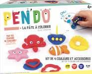 620030 Malknete Set 4 Farben, gelb/rot/blau/weiss+ 3 Werkzeuge,  3 Stifte, Anleitung