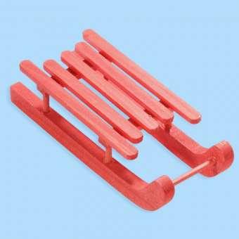 3270148 Schlitten rot Holz   9x3.6x2.3cm