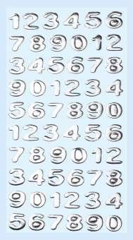 3451107 Sticker Zahlen silber