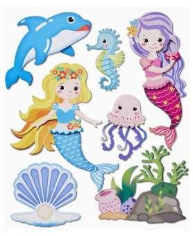 3452587 3D Sticker XXL Meerjungfrau