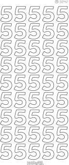 3460131 Sticker  Zahl 5  gold          K