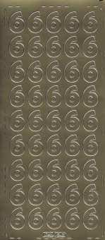 3460133 Sticker Zahl 6 gold