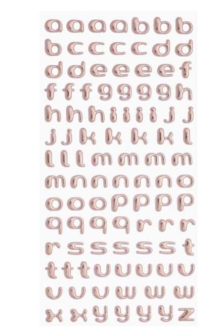 3451101 SOFTY-Sticker Kleinbuchst ros-gold