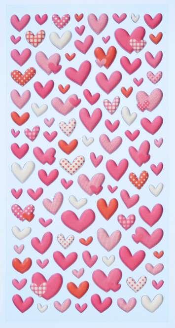 3451111 Sticker Herzen rosa bunt gem.