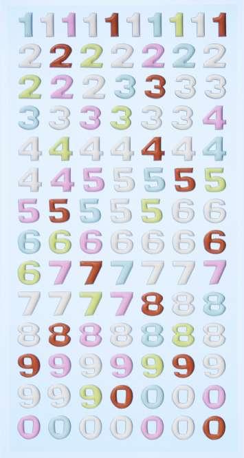 3451131 Sticker Zahlen pastell