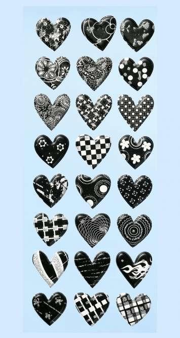 3451164 Sticker Herzen schwarz         *
