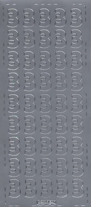 3460128 Sticker Zahl 3 silber