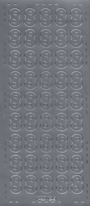 3460138 Sticker  Zahl 8  silber        K