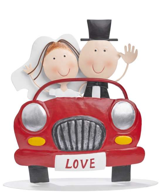 3473202 Hochzeitspaar im Auto, ca. 20 cm
