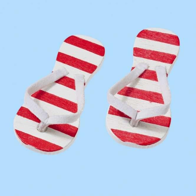 3860593 Flip-Flops rot gestreift 3cm 2Paar