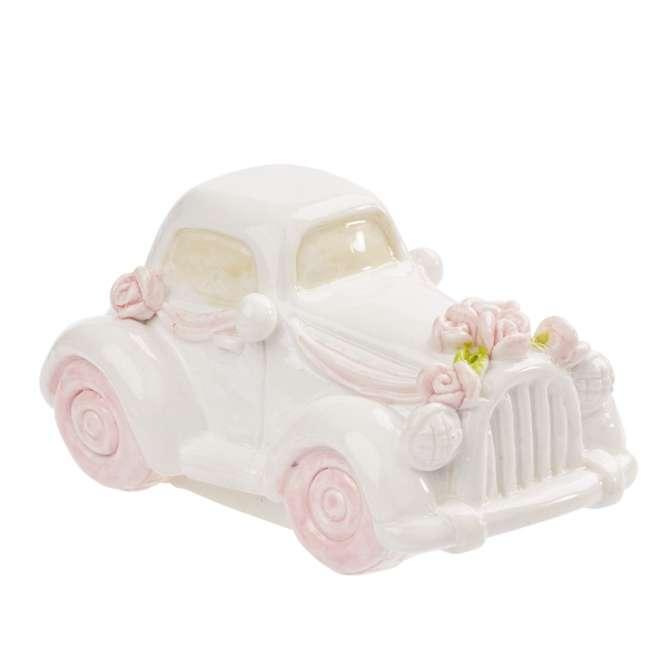 3870770 Hochzeits-Auto, weiss-rosa, 5cm