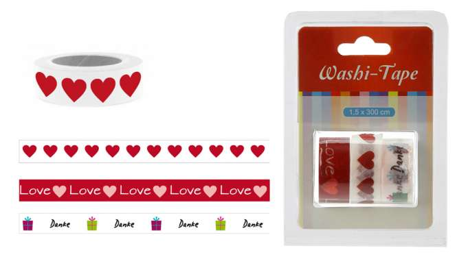 520292 Washi-Tape 3er Set Liebe  1.5x300cm