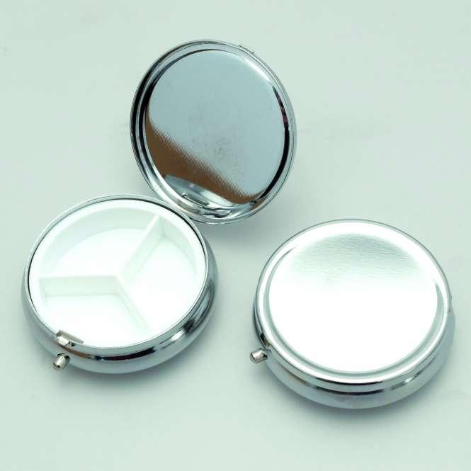 599356 Pillendose Metall silber D60mm