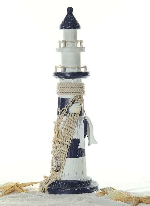 599932 Leuchtturm m.Fischen, Höhe 32cm